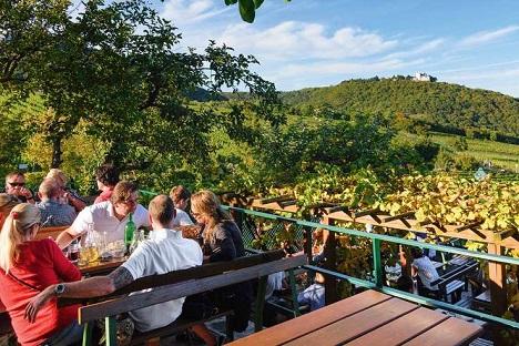 Bietet eine der schönsten Aussichten über Wien und die Weinberge: Terrasse vom Heurigen »Sirbu« am Kahlenberg.